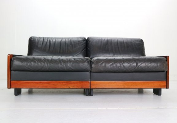 Afra & Tobia Scarpa Black Leather Model-920 2-Seat Sofa for Cassina, 1960s