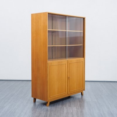 Mid-Century 1950s display cabinet / bookcase in ashwood & glass