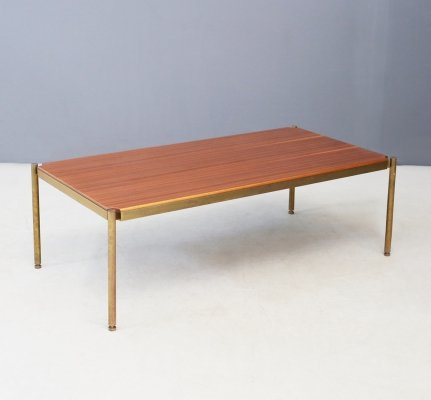 Coffee table in brass & wood by Osvaldo Borsani for Tecno, 1950s