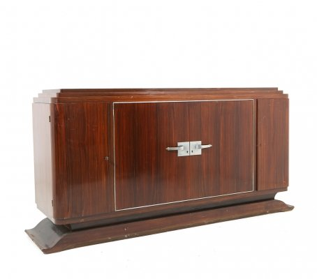 French Art Deco sideboard in macassar wood & chromed aluminium, 1930s