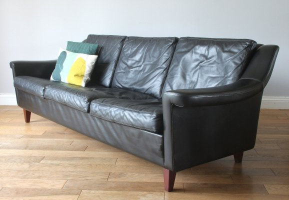 Vintage midcentury Danish black leather three seater sofa, 1970s