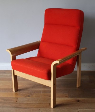 Original 1970's Midcentury Danish tall lounge armchair by Magnus Olesen