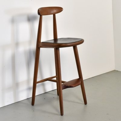 Teak leather Stool by Vilhelm Wohlert for Stolefabriken Odense, Denmark 1960s