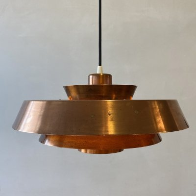 Vintage Nova pendant in copper by Jo Hammerborg for Fog & Morup, 1960's