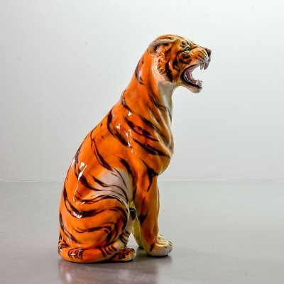Lifesize Ceramic Asian Tiger Statue, Italy 1970s