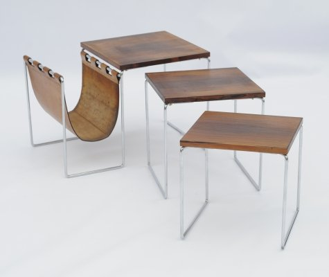 Brabantia nesting tables with leather magazine holder, Netherlands 1960s