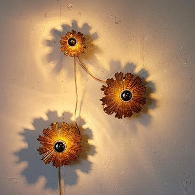 Set of 2 large & 1 small sunburst wall lamps, 1960s
