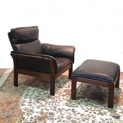 Scandinavian wood & leather lounge chair with ottoman, 1960s