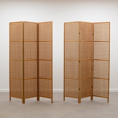 70s pine wood scandinavian room divider / folding screen