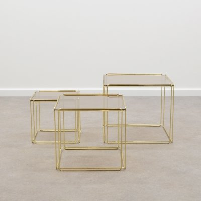Gold Isocele nesting tables by Max Sauze for Atrow, 1970's