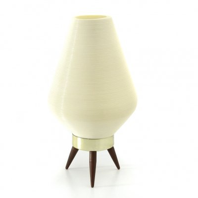 Tripod beehive table lamp with plastic shade, 1960s
