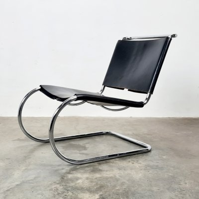 Black Leather MR 30/5 lounge chair by Mies van der Rohe for Knoll, 1970s