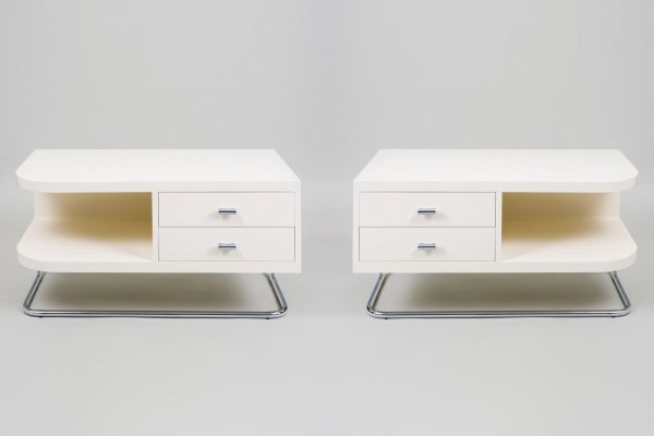 Pair of Chromed steel Ivory Vintage Bauhaus Bed Side Tables by Kovona, 1950s