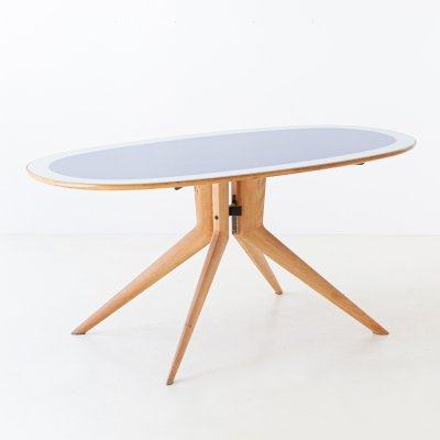 Italian Elliptical Light Wood & Blue Glass Table, 1950s