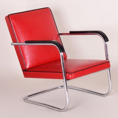 Red Tubular Thonet Armchair by Anton Lorenz, 1930s