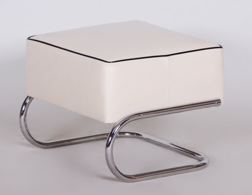 Modernist Tubular Stool by Slezák in Ivory Leather & Chrome-Plated Steel, 1930s