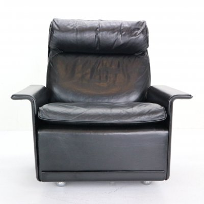 Dieter Rams Black Leather Lounge Chair Model-620 for Vitsœ, 1970s