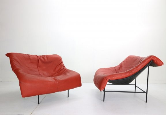 Gerard v/d Berg Minimalistic 'Butterfly' Leather Lounge Chairs for Montis, 1980