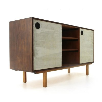 Sideboard with lined doors & open compartment, 1960s