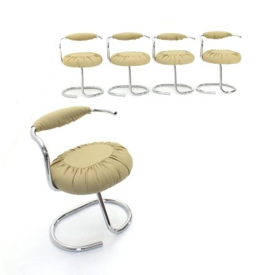 5 'Cobra' chairs in Beige eco-leather by Giotto Stoppino, 1970s