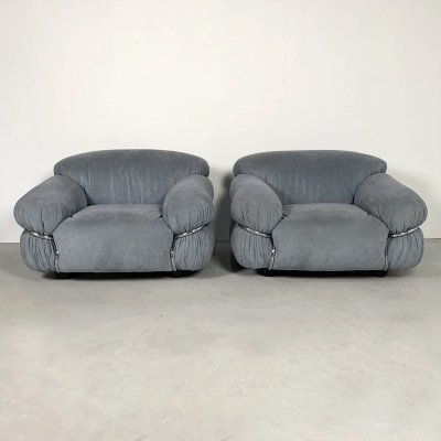 Pair of Sesann Lounge Chairs by Gianfranco Frattini for Cassina, 1970s
