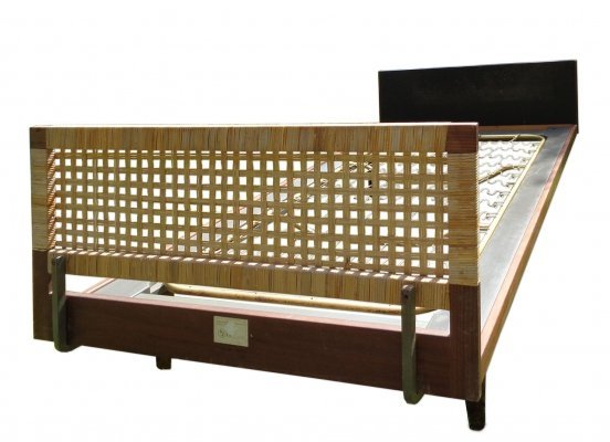 Hans Wegner Bed in teak, wickerwork & artificial leather, 1960s
