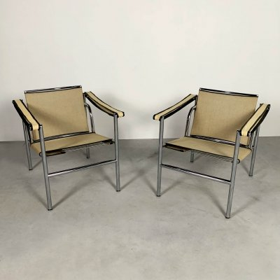 Pair of Beige LC1 Armchairs by Le Corbusier for Cassina, 1970s