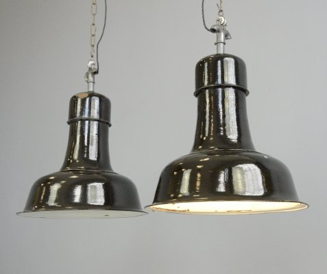 German Bauhaus Factory Lights, Circa 1930s