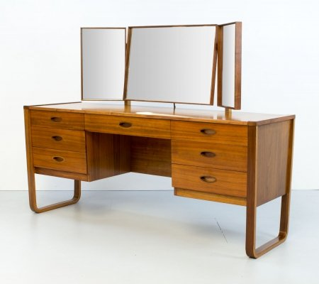 1960s Walnut Dressing Table by Gunther Hoffstead for Uniflex