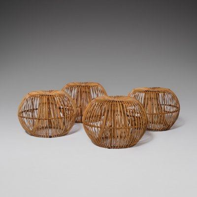 Janine Abraham & Dirk Jan Rol Rattan stools for Rougier, France 1950s