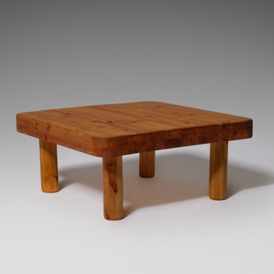 Low pine French coffee table, 1960s