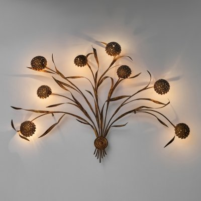 XXL Italian Mid Century Modern Gilded Wheat leaves Wall Lamp