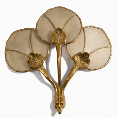 Big Italian wall sconce in brass flower-shaped, 1960s