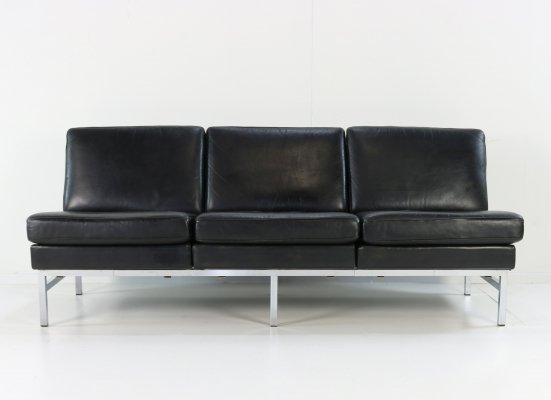 Black leather 3 seater sofa, Germany 1960s