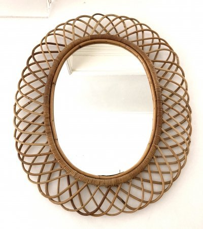 Large Italian rattan wall mirror, 1960s