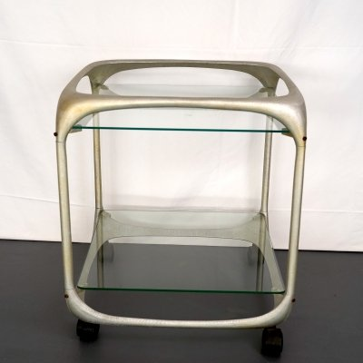 Vintage Italian aluminum bar trolley signed by Lorenzo Burchiellaro, 1970s
