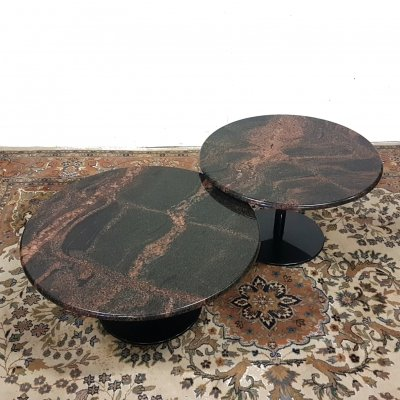 Set of 2 polished granite coffee tables on a steel base, 1980s