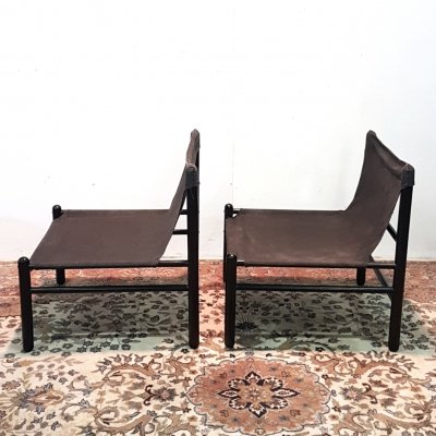 Set of 2 minimalist Scandinavian safari chairs, Denmark 1960s