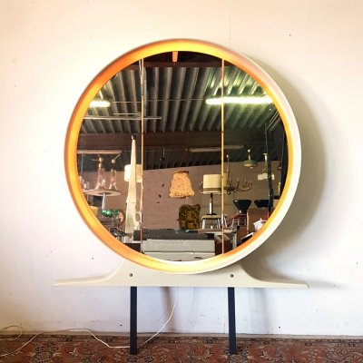 Large triptic back lit mirror with storage space, 1970s