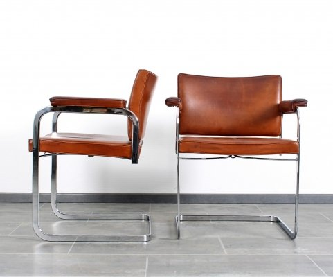 Very rare cognac leather RH305 chair by Robert Haussmann for De Sede, 1950s