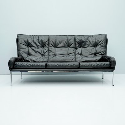 Rare Black Leather Sofa by Roland Rainer, 1960s