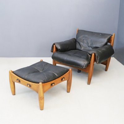 Sergio Rodrigues for Isa Bergamo Sheriff Lounge Chair & ottoman, signed 1950s