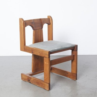 Solid Pine Three-leg Dining Chair, 1970s