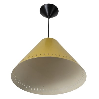 Yellow vintage pendant light by Philips