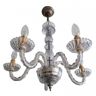 Mid-Century Venetian 5-arm glass chandelier, 1950s