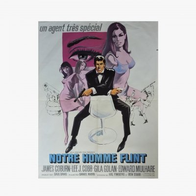 Original film poster for Notre man Flint with James Coburn, 1965