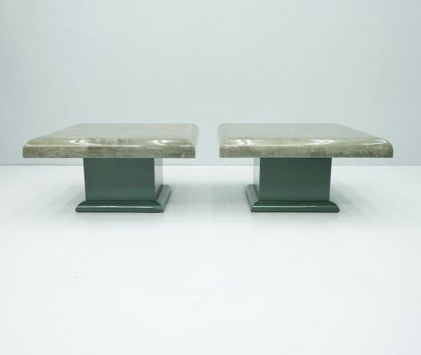 Pair of Green Goatskin Side Tables by Aldo Tura