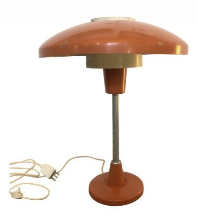 Stilnovo Mod. 8022 Mid-Century Modern Orange & White Table Lamp, circa 1960