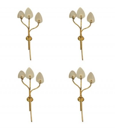 Four Huge Mid-Century Modern Brass & Glass Wall Sconces, circa 1950