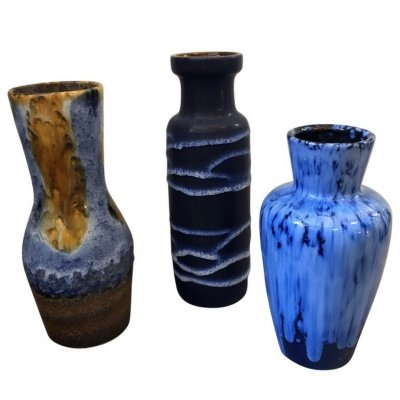 Set of 3 Scheurich Lava Ceramic German Vases, circa 1970